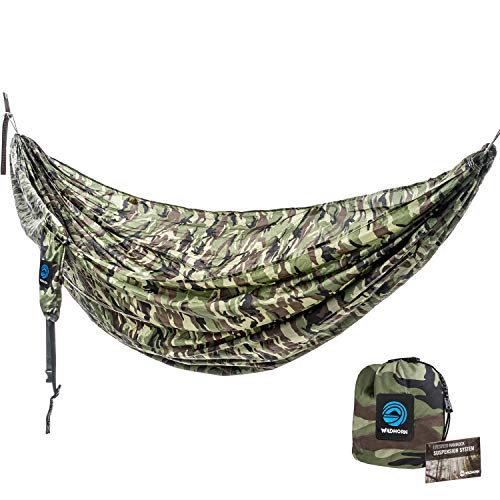 WildHorn Outfitters Outpost Double Single Camping Hammock with 11 Tree Straps – 100 Parachute Nylon – Cinch Buckle Design, No Knots Required – Easiest Hammock to Hang