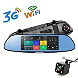 "7"" 3G Car Camera DVR GPS Bluetooth Dual Lens Rearview Mirror Video Recorder Full HD 1080P Automobile DVR Mirror Dash cam …"