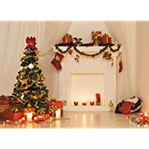 Indoor White Fireplace Christmas Photo Backdrop Xmas Tree Gifts Curtain Light Candle on Wood Floor Photography Studio Background Holiday 6.5x5 ft 55