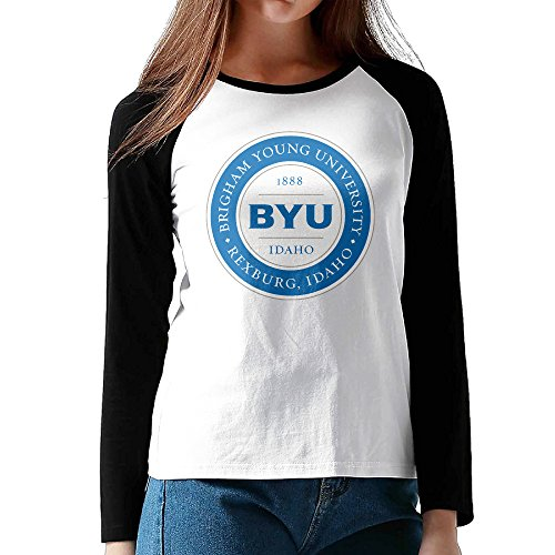 Xjbd Womens Byu Idaho Logo Long Sleeve Blended Baseball Tee Size M