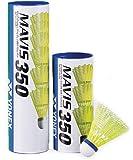 YONEX Mavis 350 Badminton Medium Speed Nylon Shuttlecock, 1 Dozen, 2 Tube