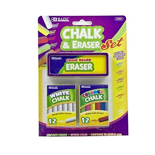 Price comparison product image DD Discounts 311333 Bazic 12 Color & 12 White Chalk With Eraser Sets- Case of 72
