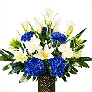 Blue Peony with White Lily and Orchid Artificial Bouquet, featuring the Stay-In-The-Vase Design(c) Flower Holder (SM1822) 11