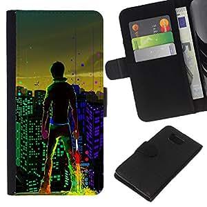 KingStore / Leather Etui en cuir / Samsung ALPHA G850 / Big City Boy luces de colores Arte de Windows