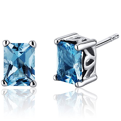 (Radiant Cut 2.00 Carats Swiss Blue Topaz Stud Earrings Sterling Silver)