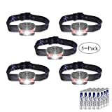 LED Headlamps Flashlight, Zukvye Cree LED Headlamp with Red Lights, Waterproof Head Light for Running, Camping, Reading, Kids, DIY & More - 20 AAA batteries included (5 pack)