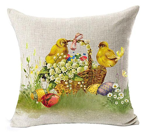 Happy Easter Oil Painting Adorable Bunny Rabbit Yellow Chick Lily Color Egg Flowers Basket On The Grass Cotton Linen Throw Pillow Case Cushion Cover NEW Home Office Indoor Decorative Square 18 Inches (Lily Basket Yellow)