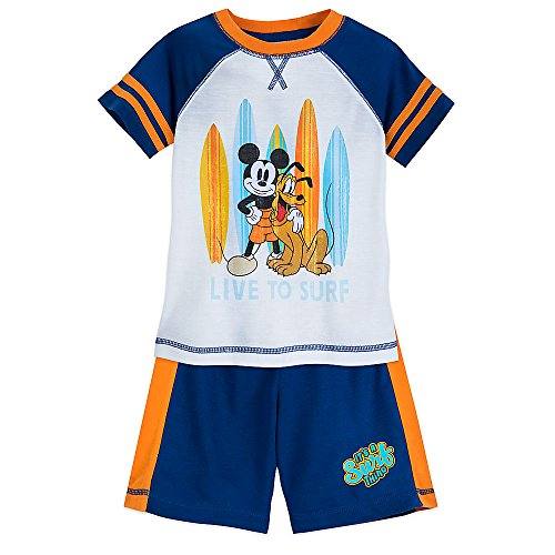 Disney Mickey Mouse and Pluto ''Surf'' Shorts Sleep Set for Boys Size 7/8 -