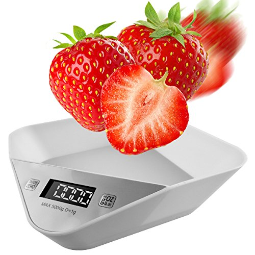 Digital LCD Food Bakery Kitchen Tools Scale Up to 5KG Easy Use Spice Herb Measure Cooking Tools Chef Appliances Beginner Cooking Tools Food Diet Equipment W/ Food Tray MS-A9 (Bacon Cupcake Recipe)