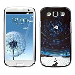 TopCaseStore / la caja del caucho duro de la cubierta de protección de la piel - River Night Winter Nature Painting - Samsung Galaxy S3 I9300
