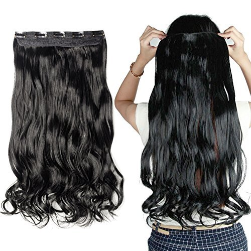 Clip in/on Hair Extension 5 Clips One Piece Full Head Hairpiece Synthetic Heat-Resistant Hair For Party/Halloween For Women Girls Teen (27