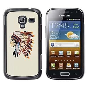 Be Good Phone Accessory // Dura Cáscara cubierta Protectora Caso Carcasa Funda de Protección para Samsung Galaxy Ace 2 I8160 Ace II X S7560M // Skull Native American Feathers