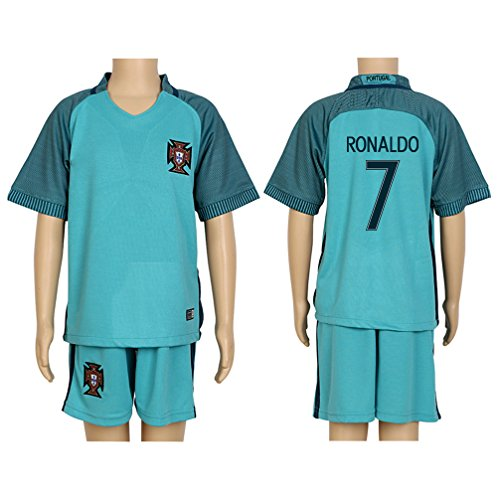 Santa Real Name - 2016 UEFA Euro #7 Ronaldo Green Away Kids Soccer Jersey & Short Kit Set