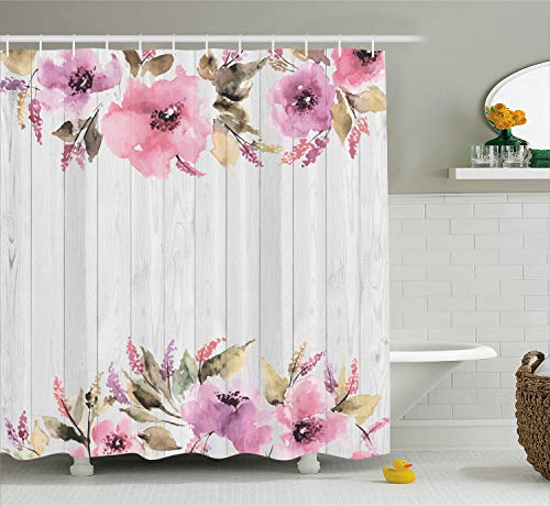 Ambesonne Rustic Home Decor Shower Curtain Set, Vintage Wood with Lavender and Violet Flowers English Country Floral Patterns, Bathroom Accessories Collection, Polyester Fabric,White Grey Purple