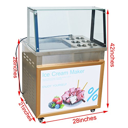 Ice Cream Maker Fried Ice Cream Machine 110V With Dust cover by C.N.