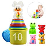 eyscar Stacking Cups Early Educational Toddlers Toy Bathtub Toys with Numbers & Animals Game for Kids Baby 11 Pack