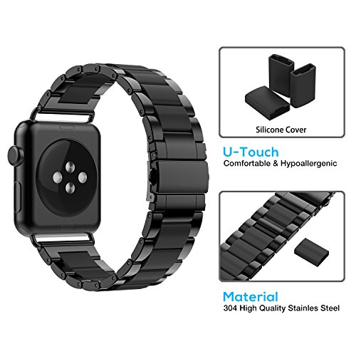 Greeninsync Apple Watch Bands 42mm Metal, Special Edition Stainless Steel Wristbands Buckle Clasp Watch Strap Replacement Bracelet W/Silicone Cover Black for Apple Watch Series 3/2/1