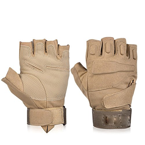 Floor Fingerless Half-finger Tactical Gloves Military Gloves Shooting Gloves For Riding Hunting Cycling (Desert, (Desert Floor)