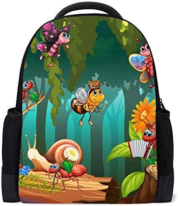 Kuizee Classic Backpack Schoolbag Adjustable Padded Shoulder Straps Daypack ?Cartoon Fairytale Scene Plants Insects Garden Casual Bags Durable College Daily 16Inch