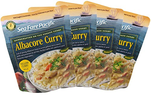 Yellow Curry - Sea Fare Pacific, 4 pack, gluten free, ready to eat, convenient microwavable/boilable pouch, Pacific wild caught sustainable Albacore tuna in coconut cream, excellent on-the-go meal.