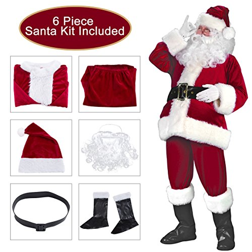 Besteamer Christmas Santa Claus Costume Set Men's Deluxe Santa Suit Wine - Santa Suits