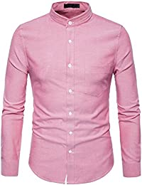 Mens Hipster Mandarin Collar Slim Fit Long Sleeve Casual Button Down Oxford Dress Shirt with Pocket