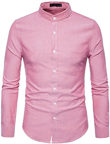 WHATLEES Mens Hipster Mandarin Collar Slim Fit Long Sleeve Casual Button Down Oxford Dress Shirt with Pocket T120 Red Large ()