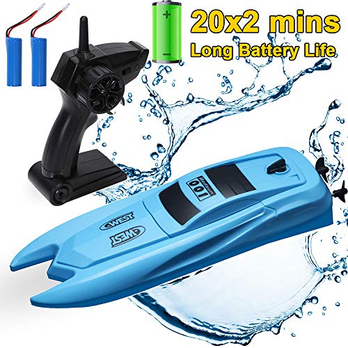 SZJJX RC Boat with Long Battery Life, Remote Control Racing Boats for Pools and Lakes, 2.4GHz 10KM/H Speed Boat Toys Electric 4 Channels for Kids Blue (Best Electric Rc Boat)