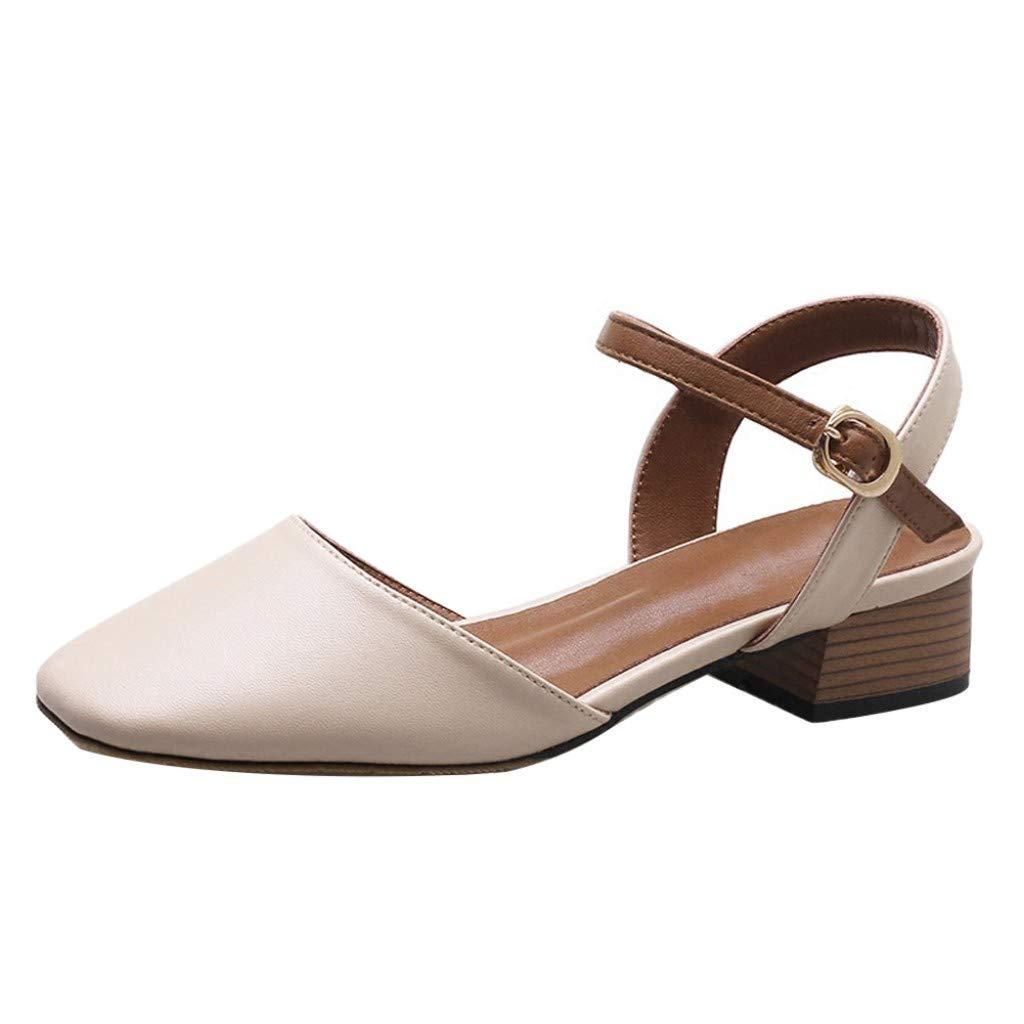 YEZIJIN Women's Summer Buckle Fashion Casual Cute Sandals Beach Shoes Platform/Flats/High Heel Sandals White