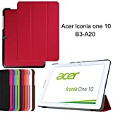 Acer Iconia One 10 B3-A20 case, iDudu Ultra Slim PU Leather Lightweight Smart-shell Stand Cover for Acer Iconia One 10 B3-A20 (NOT Fit B3-A30) 10-Inch Tablet (Red)