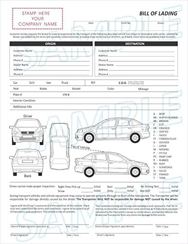Amazon Com 2 Part Vehicle Transport Bill Of Lading Form Office