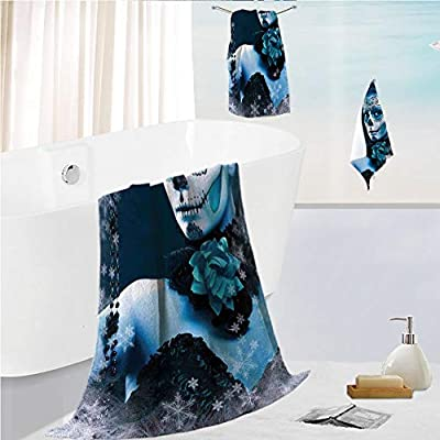 iPrint Bath Towel 3 Pieces Hand Towels Set Microfibe Customized Bath Towel Combination,Los Muertos Skull Girl with Roses Image Print,Customized Bath Towel Combination Quick Drying & Super Absorbent