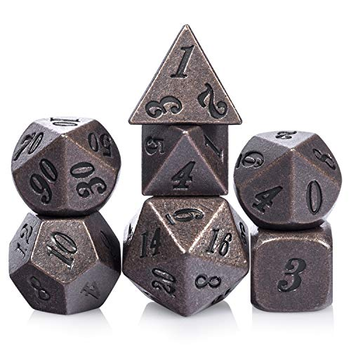 Ancient Copper DND Dice, 7PCS D&D Metal Dice with Metal Box for Dungeons and Dragons, Shadowrun, Pathfinder, Savage World and Table Games