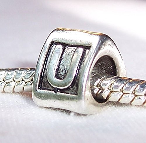 Alphabet Letter U Triangle Initial Bead for Silver European Style Charm Bracelet Crafting Key Chain Bracelet Necklace Jewelry Accessories Pendants