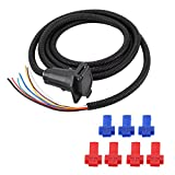 Qiilu 7 Way Trailer Plug Cable Cord Wire Harness Blade Molded Connector for RV Towbar Towing 3 Meter