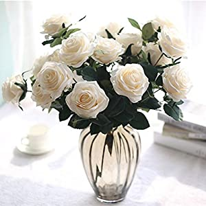 SIUONI 10 Fake Flower Artificial Bouquet French Rose Bouquet Ornaments Living Room Decoration Dining Table Floral Silk Flower Imitation(Milk White) 36