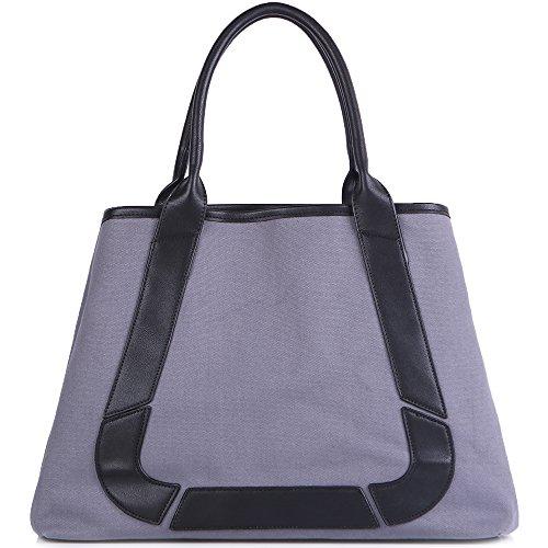 (Handbags for women JOYSON Canvas 2pcs Set Handbag Top Handle Shoulder Bag Large Capacity Handbag Gray)