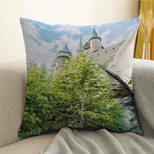 Wizard Pillowcase Hug Pillowcase Cushion Pillow Witchcraft School and Wizard Castle in Woods Replica in Japan Picture Print Anti-Wrinkle Fading Anti-fouling W20 x L20 Inch Green Blue Beige