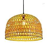 RSQJ Handmade Bamboo Art Restaurant Chandelier Living Room Study lamp (Size : 3324cm)