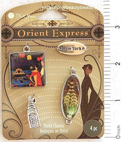 Altered Art New York Theme Antiqued Silver Bead Drop Framed Pendant Link Charms