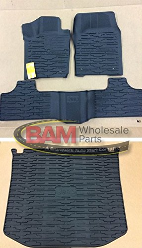 Floor Mats Liners Jeep (2013-2015 Jeep Grand Cherokee Rubber Slush Floor Mats and Cargo Tray Liner Set)