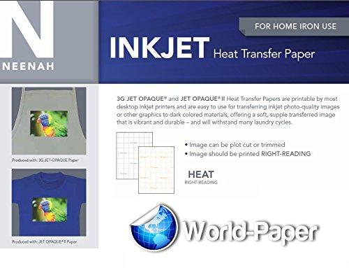 INKJET TRANSFER PAPER FOR DARK FABRIC: NEENAH ''JET OPAQUE II'' (8.5''X11'') 50NKJET TRANSFER PAPER FOR DARK FABRIC: NEENAH ''JET OPAQUE II'' (8.5''X11'') 50Pk :) by JET-OPAQUE® II Neenah Paper (Image #4)