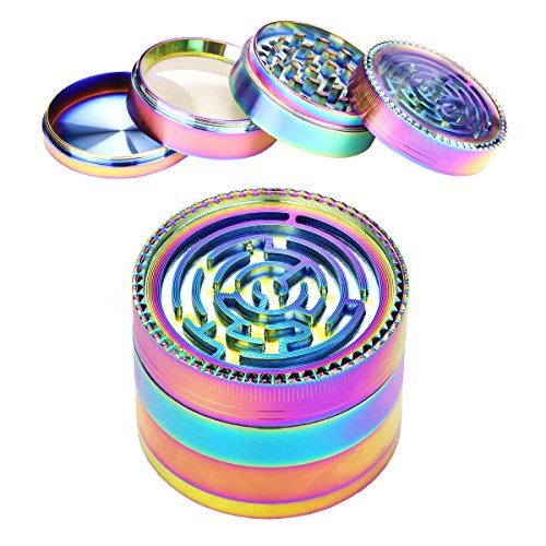 Metal Tobacco Herb Grinder - USecret Funny Colorful Metal Zinc Alloy 4 Pieces Tobacco Spice Herb Grinder ,the Lid is a Labyrinth Ball Maze Puzzle Game (63mm/2.5inch)