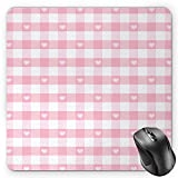 BGLKCS Checkered Mouse Pad by, Lovely Romantic Pattern with Cute Little Hearts Children Kids Girlish Design, Standard Size Rectangle Non-Slip Rubber Mousepad, Baby Pink White
