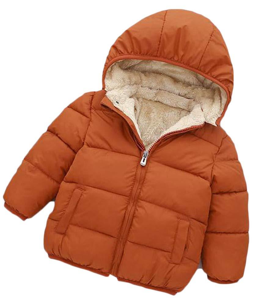 XiaoTianXinChildrenscostumes XTX Boy Fleece Faux Fur Lined Thicken Hooded Athletic Jacket Parka Coat Coffee 4T