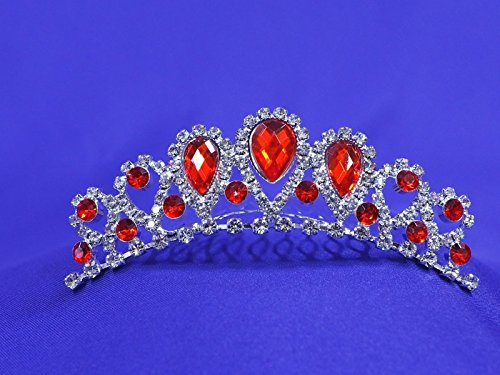 Red Rhinestone Tiara Comb Prom Party Flower Girl CT45