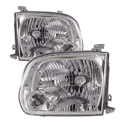 - HEADLIGHTSDEPOT Chrome Housing Halogen Headlights Compatible with Toyota Sequoia Tundra Includes Left Driver and Right Passenger Side Headlamps