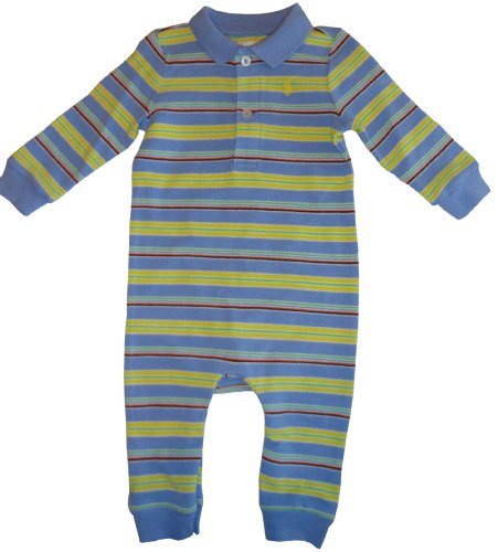 Infant's Ralph Lauren Polo Long Sleeve Baby Romper Light Blue with Multicolor Stripes Size 9 Months