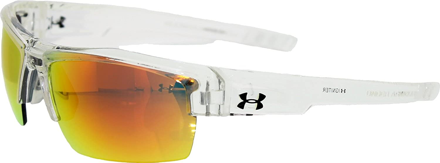 f9577bb30347 Amazon.com: Under Armour Igniter Multiflection Sunglasses, Crystal Clear  Frame/Gray, Orange & Multi Lens, One Size: Under Armour: Clothing