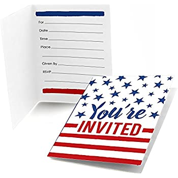 amazon com stars and stripes patriotic invitations 8ct kitchen